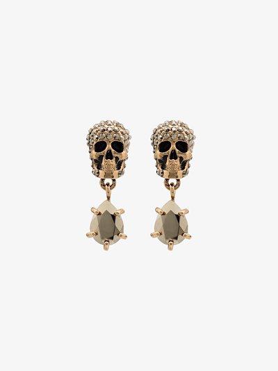 Silver tone crystal skull earrings