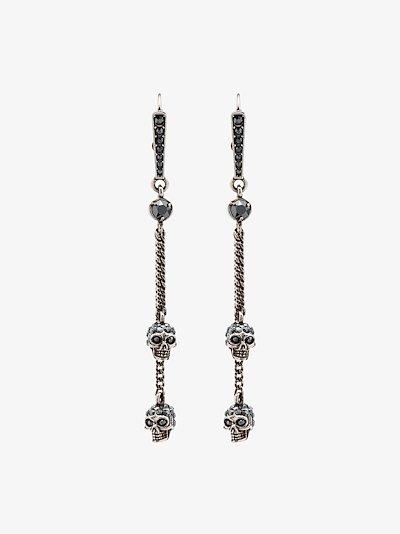 silver tone double skull drop earrings