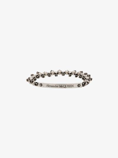 Silver tone engraved skull bracelet