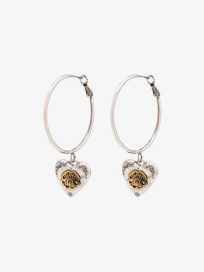 silver tone heart locket hoop earrings
