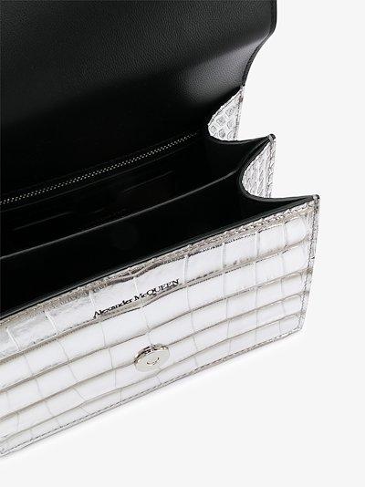 silver tone jewelled leather mini cross body bag