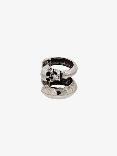 silver tone skull motif ear cuff