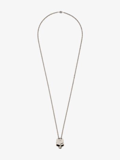 Silver tone skull pendant necklace