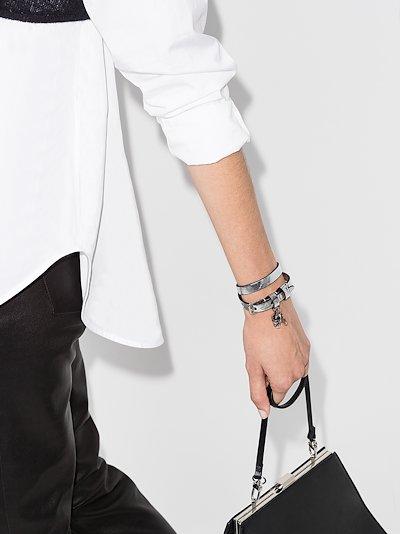 silver tone skull wrap leather bracelet