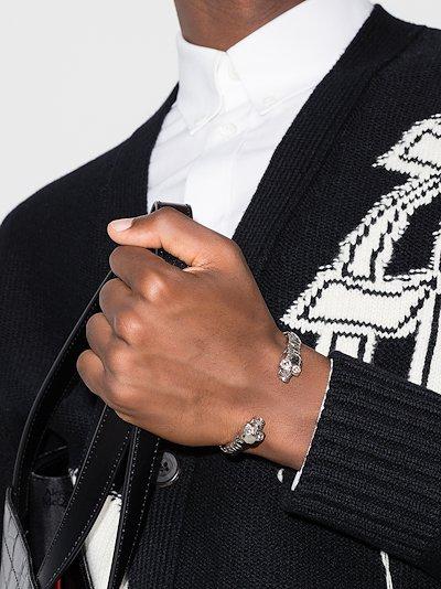 silver tone twin skull bracelet
