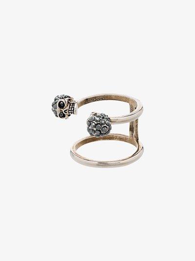 silver tone twin skull ring