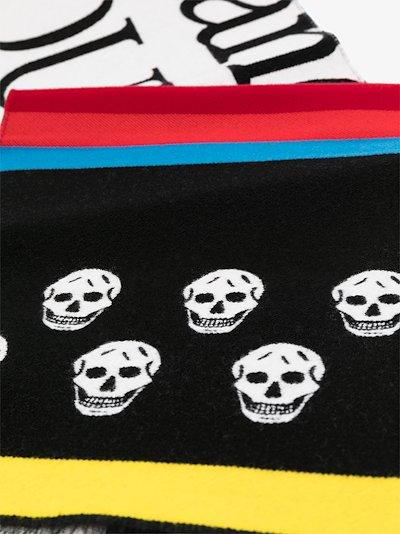 Skull Stripe panelled scarf