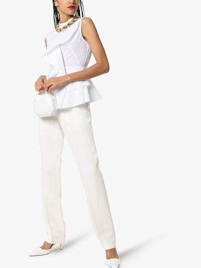 sleeveless ruffled cotton blouse