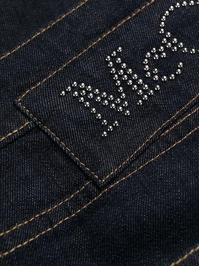 studded logo slim fit jeans