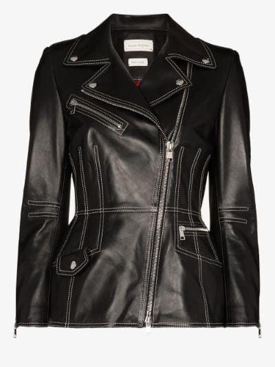 top stitch leather jacket