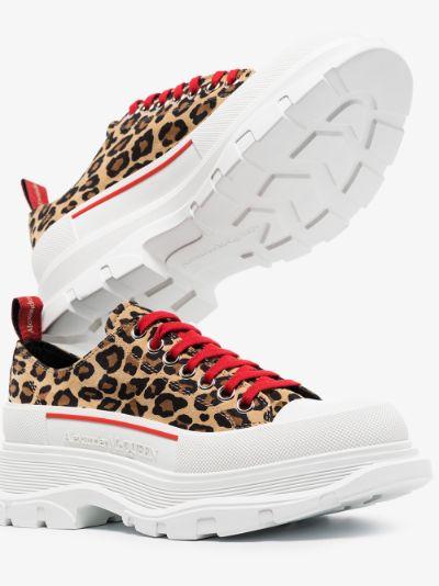 White Leopard Print Tread Slick Sneakers