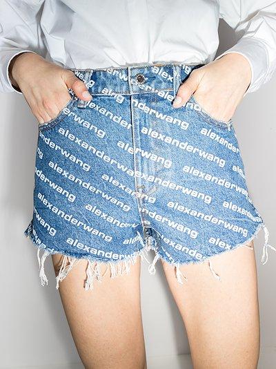 Bite branded print denim shorts
