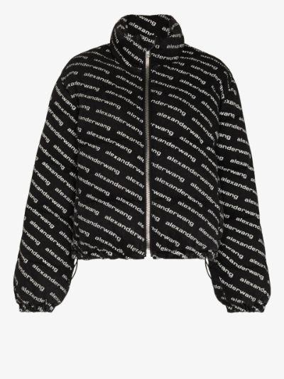 diagonal logo print puffer jacket