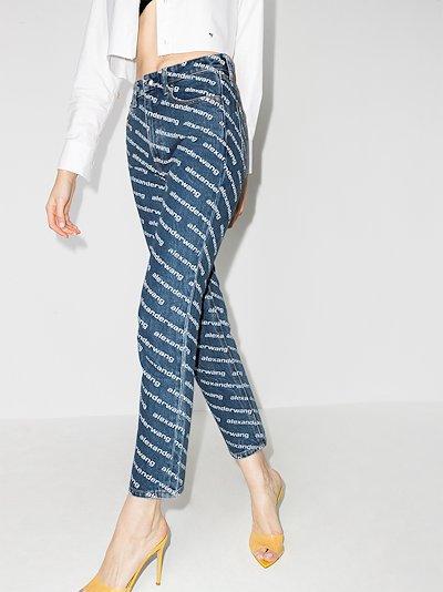 high-rise logo print skinny jeans