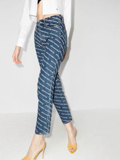 high-rise logo-print straight-leg jeans