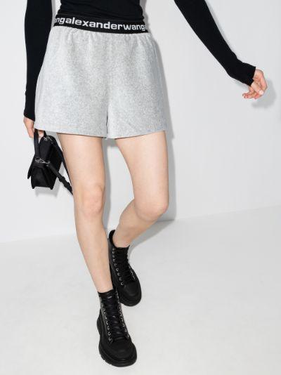 high waist track shorts