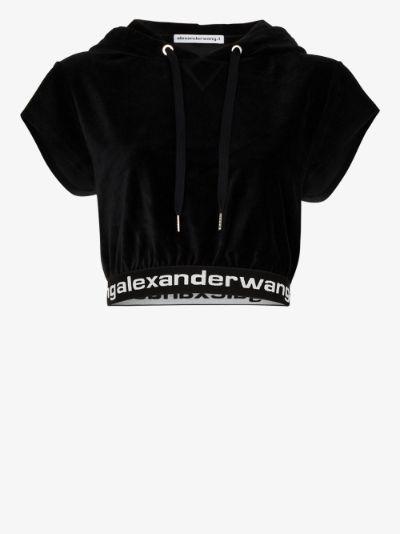 logo trim cropped hoodie