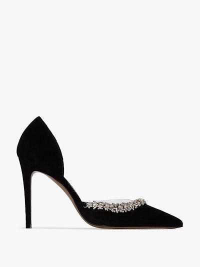 black Ane 100 embellished suede pumps