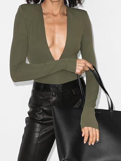 deep V-neck long sleeve bodysuit