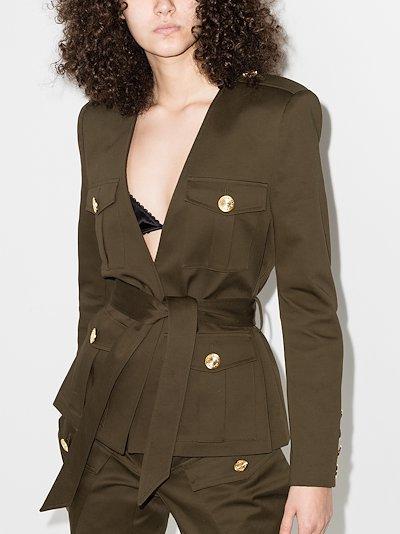 Deep V-neck patch pocket blazer