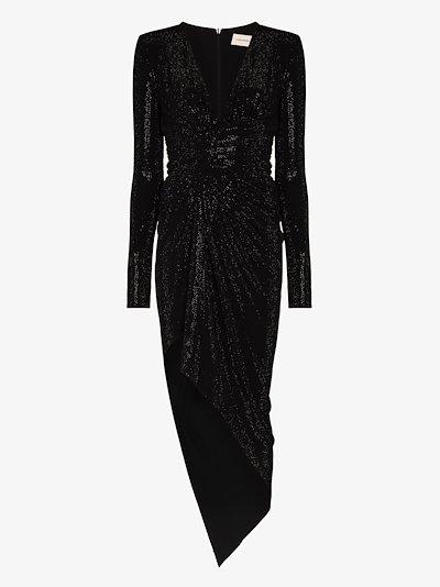Embellished Asymmetric Wrap Dress