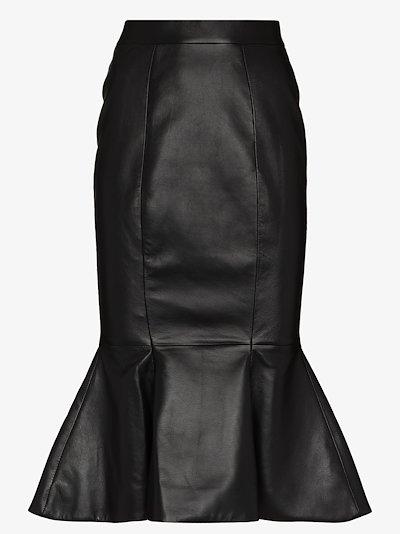 fishtail leather Midi Skirt