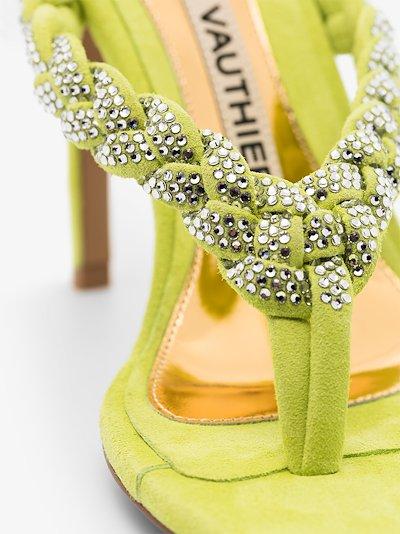 Green Jojo 100 Crystal Embellished Suede Sandals