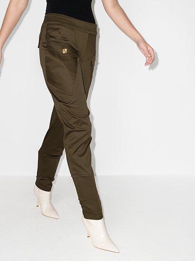 High waist hip pocket slim trousers