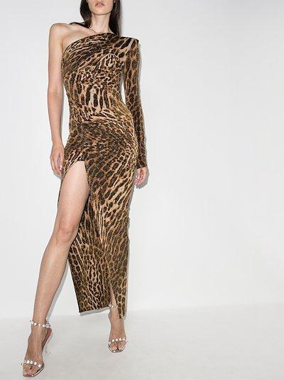leopard print one shoulder dress