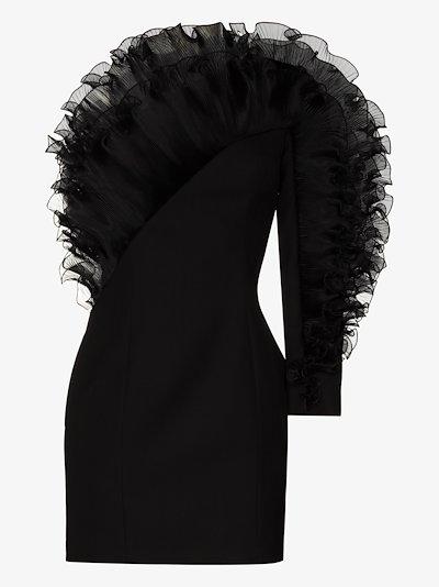 one shoulder ruffle mini dress