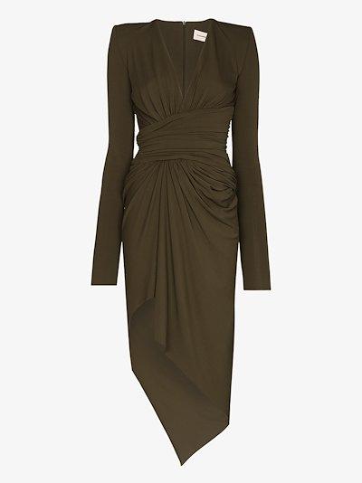 V-neck asymmetric maxi dress