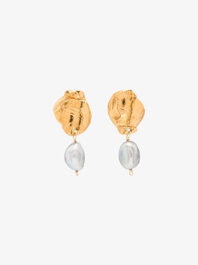 gold-plated shadow pearl drop earrings