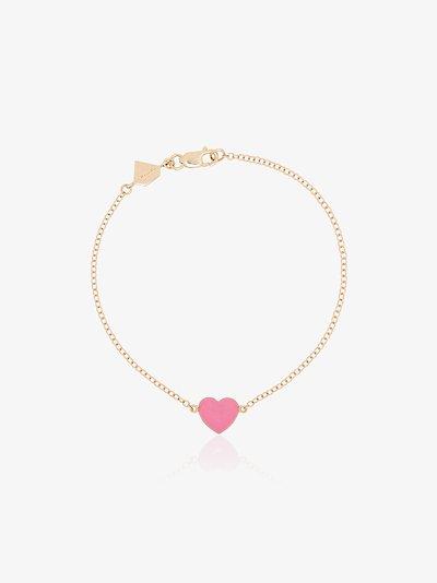 14K yellow gold and pink enamel heart bracelet