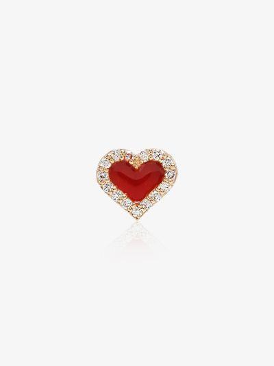 14K yellow gold diamond heart earring