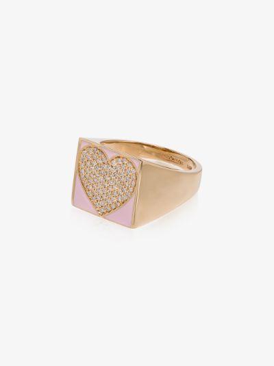 14K yellow gold diamond heart signet ring