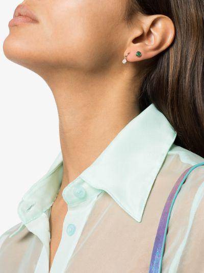 14K yellow gold emerald stud earring