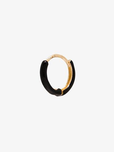 14K yellow gold enamel huggie earring