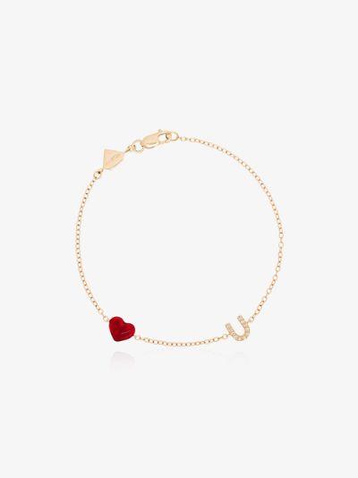 14K yellow gold love u diamond bracelet