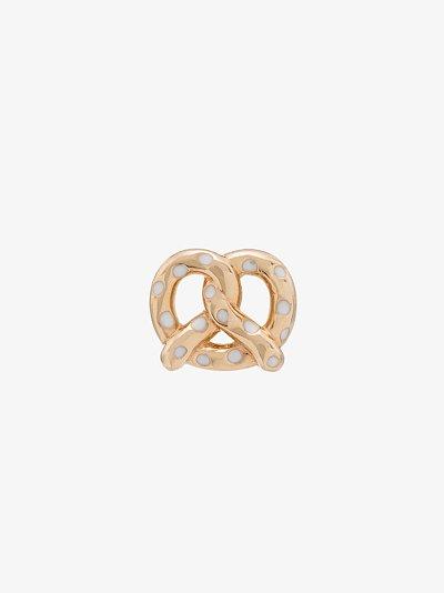 14K yellow gold pretzel earring