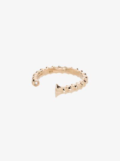 14K yellow gold screw diamond ring