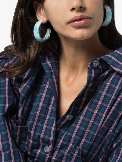 Blue tie-dye jelly hoop earrings