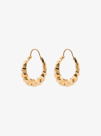 Gold Vermeil Carved Fat Snake Earrings