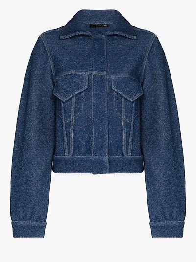 cropped denim effect jacket