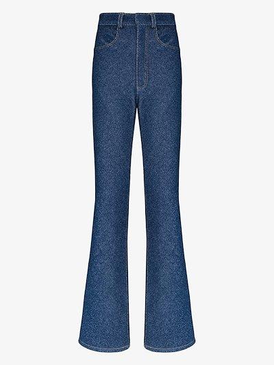 denim effect flared trousers