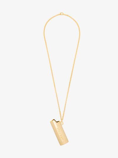 gold tone large Lighter case necklace