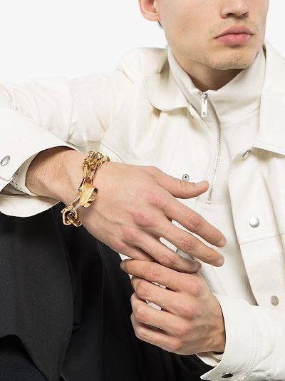 heart padlock chain-link bracelet