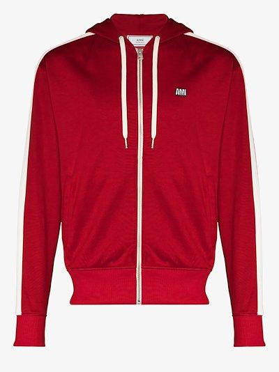 zip-up stripe hoodie