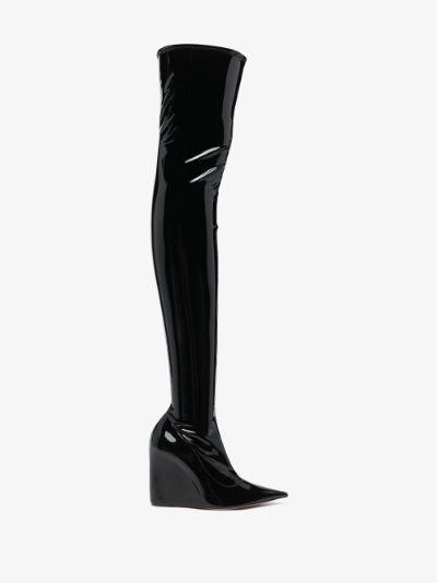 Black Danielle 95 thigh-high patent boots