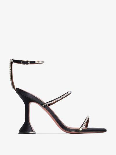black Gilda 95 crystal satin sandals