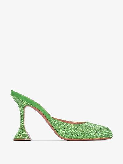 green Emili 95 crystal suede mules
